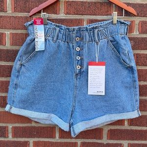 Paperbag Waist Denim High Rise Mom Shorts XL